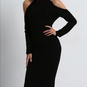 Black backless dress with white scrap in back